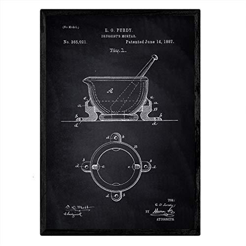 Poster Nacnic patent apotheek mortel. Blad met oud ontwerp patent A3-formaat met zwarte achtergrond