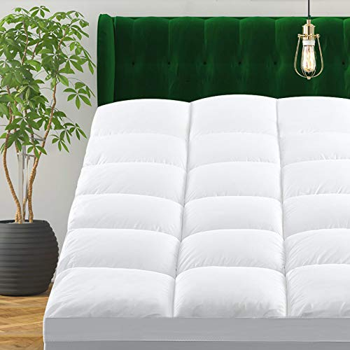 CHOKIT Extra Thick Queen Size Mattress Topper Cooling Cotton Mattress Pad Cover 400 TC Pillow Top Construction 821Inch Deep Pocket2 Inches Thick Breathable Snow White