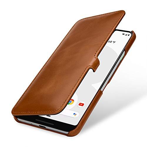 StilGut Lederhülle für Google Pixel 3 XL Book Type, Cognac mit Clip