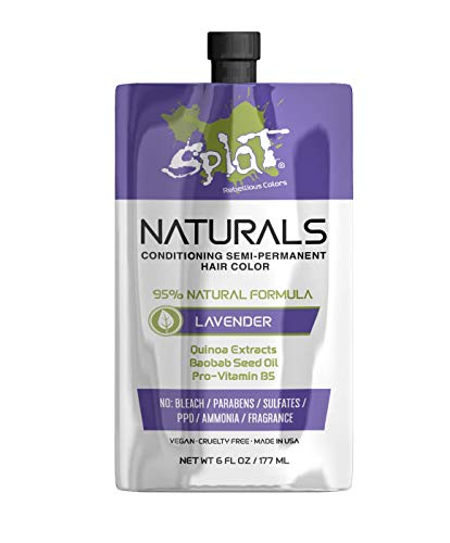 Splat Naturals, Semi-Permanent Lavender Hair Dye : 100% Vegan, Cruelty-Free, No Bleach Required, Free of Ammonia, PPD, Parabens & Sulfates - 6 Oz