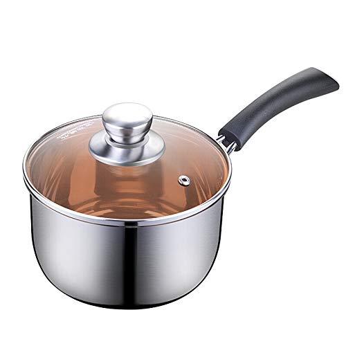 meleg otthon 2 Quart Stainless Steel Saucepan with Glass lid,Nonstick Little Sauce Pot Dishwasher Safe Heat Evently 7''Diameter