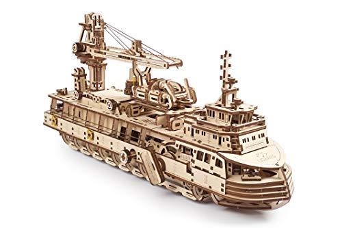 UGEARS maquetas para Construir para Adultos - Puzzle 3D Buque de investigación Modelo mecánico - Barcos de Madera para Montar - Rompecabezas Mecánico - Kits de construcción 3D de maquetas de Barcos