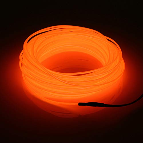 SZILBZ 5M Orange EL Neon Kabel LED-Licht Glowing Beleuchtung Flexible Lampe + Controller-Box, für Home Garden, Halloween Weihnachtsfeier Dekoration