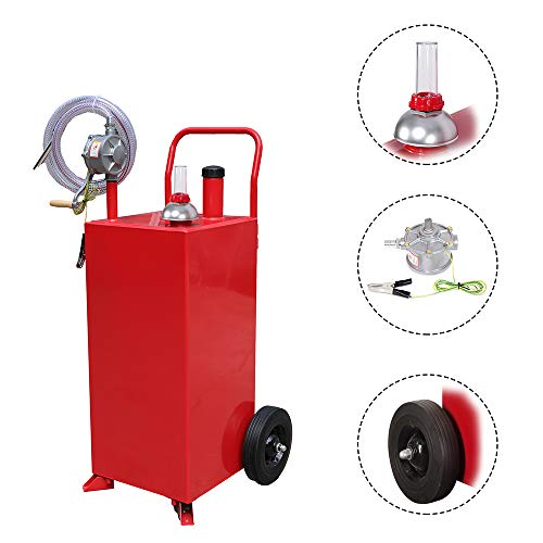 Roadstar 30-Gallon Portable Oil Transfer Gasoline Tanks Gas Caddy Storage with Pump and Wheels Red