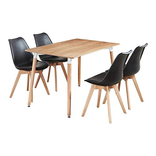P&N Homewares Lorenzo Dining Table and 4 Chairs Set Retro and Modern Scandinavian Dining Set White Black Grey Red Pink Green Chairs with Wood Brown Dining Table (BLACK)