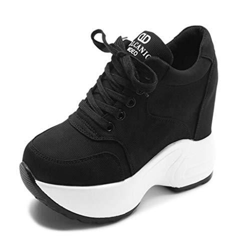 Dames Canvas Sneakers Casual Platform Verhoogde Interne Enkellaarzen Sport Running Wandelschoenen Veters Wedge Dikke Sneakers