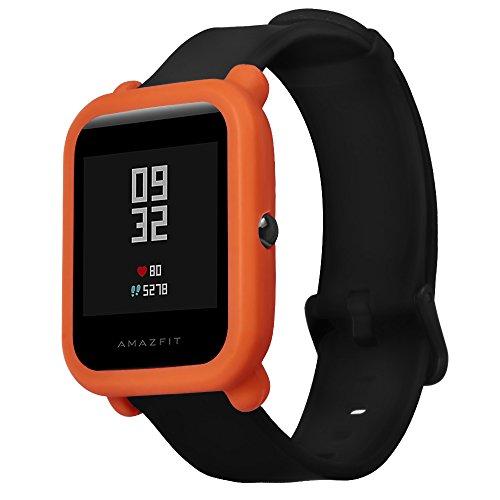 Naliovker Weiche Silikon-Schutzhülle für Huami Amazfit Bip Jugend-Armbanduhr, vollständiges Gehäuse, Orange