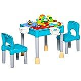 HOMCOM Juego de Mesa y 2 Sillas para Niños con 135 Bloques de Construcción Mesa de Ambos Lados Útiles para Dibujar y Cenar con Gran Almacenaje 69x69x47 cm Multicolor