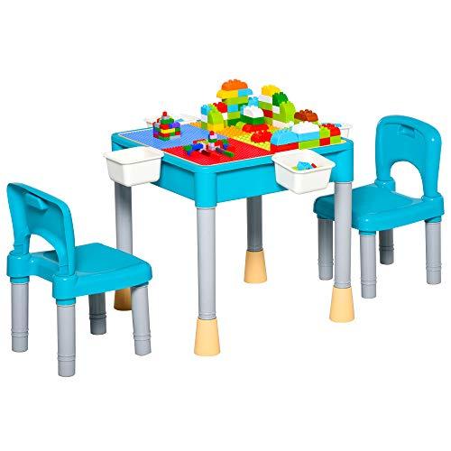 HOMCOM Juego de Mesa y 2 Sillas para Niños con 135 Bloques de Construcción Mesa de Ambos Lados...