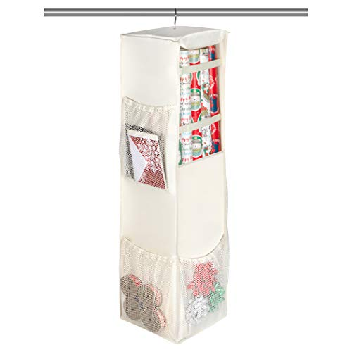 Christmas Hanging Gift Wrap Organizer - Durable Wrapping Paper Organizer Storage Bag Holds up to 20 Rolls of 40' Wrapping Paper with Mesh Pockets for Accessories Gift Bags Ribbons and More