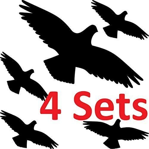 GreenIT Waarschuwingsvogel set vogels waarschuwingsvogels silhouet sticker tattoo raam bescherming tegen vogelslag decoratiefolie 20cm + 10cm 4 sets zwart