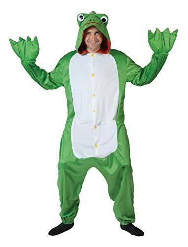 Funny Fashion Disfraz de Rana Verde Talla única en un Traje de Animal Mono Traje de Rana Sapo Verde Traje de Carnaval