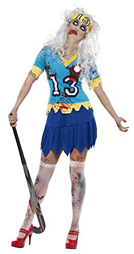 Smiffys, 24367, zombie-hockey spelerkostuum, bovenstuk, rok en haarband, maat L