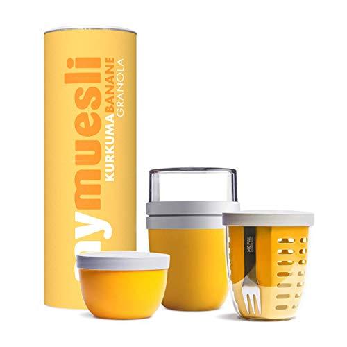 mymuesli Meal Prep Müsli-Paket gelb - 2go Becher, Fruitpot, Snackpot & Kurkuma Banane Granola Bio-Müsli (575g)