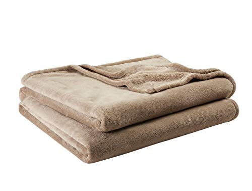 "Mainstay 102"" x 90"" Plush Blanket, King, Brownstone (Brownstone)"