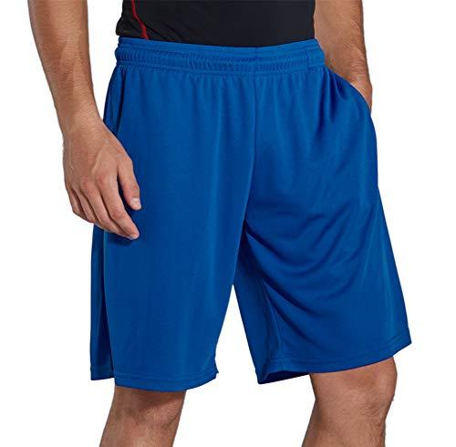 KomPrexx Sporthose Herren Kurz mit Taschen - Schnell Trocknend - Fitness Sport Shorts mit Kordelzug Kurze Trainingshose, Lila-blau, M