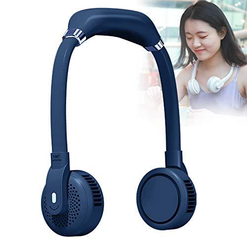 YONGCHY Ventilador de Cuello, último Ventilador sin Cuchillas USB Recargable Personal Doble Cabezal silencioso Ventilador Potente 360 Giratorio 4000 mAh batería 3 Modos de Velocidad,Azul