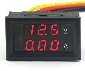 DROK amp reg  Digital Voltmeter Ammeter Voltage Current Meter 4 5-30V 10A 12V 24V Red LED Panel Volt Amp Tester for Battery Auto Car Motorcycle Ebike Automotive Dual Display Pocket Pro Mini Electric Line Voltage Detector