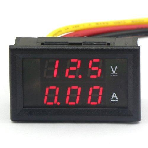 DROK Digitale voltmetro tester di tensione di corrente DC 4.5-30V / 10A 12V / 24V LED rosso Pannello Volt Amp Tester per batterie auto per Moto Ebike Automotive Dual Display Pocket Pro Mini elettrica Linea rilevatore di tensione
