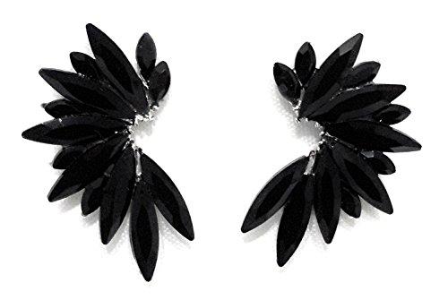 Pendientes cristales coloridos mujer alta bisutería fiesta, chapado plata negro