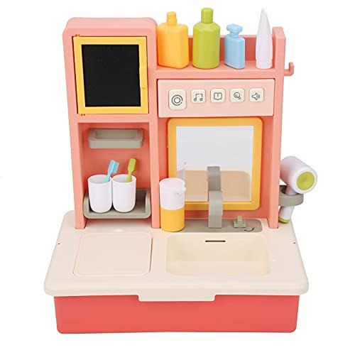 Atyhao - Tocador eléctrico de simulación de baño, juego de simulación de simulación de juguete de juguete educativo con luz (rosa)