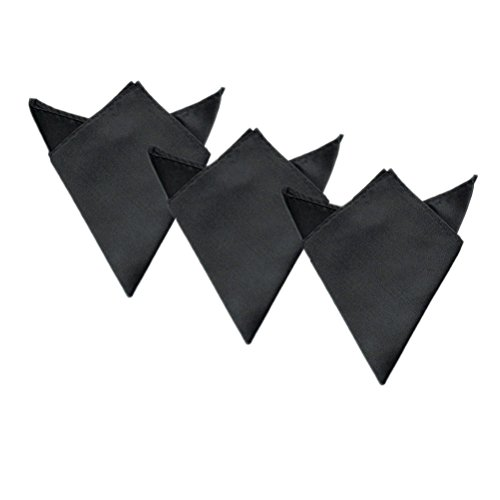 "3-Pack Men's Small Satin 8"" Pocket Squares Wedding Handkerchief, Charcoal"
