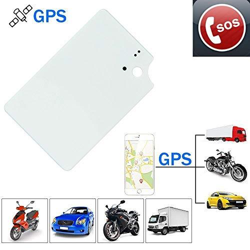 Ultra Thin Tarjeta Localizador GPS, Mini Rastreador GPS en Tiempo Real para Cartera/Bolsa/Mochila Sistema de Seguimiento Anti-pérdida GPS Tracker TK912 (Blanco)