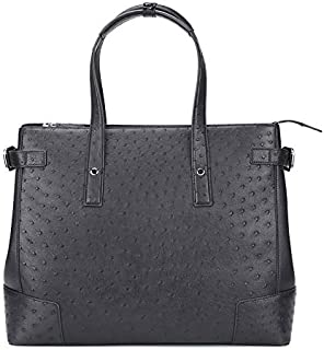 South African Ostrich Leather Man Bag Business Casual Briefcase Can OEM/ODM Men's Handbag (Color : Black)