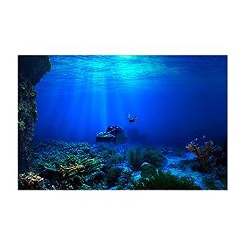 Libaoge Fish Tank Background Underwater World Sunken Ship Aquarium Backdrop Sticker Wallpaper Decoration PVC Adhesive Decor Paper Cling Decals Poster 30  W x 12  H