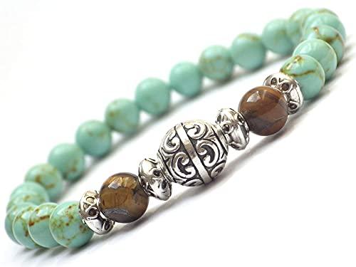 Pulsera para los hombres en las perlas de la turquesa reconstituida y de la perla de los ojos de tigre