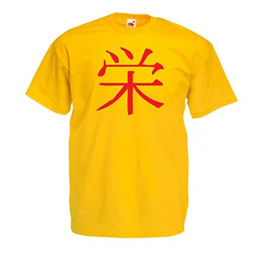 lepni.me Camisetas Hombre Insignia de Prosperidad - Símbolo de Kanji Chino/Japonés (XX-Large Amarillo Rojo)