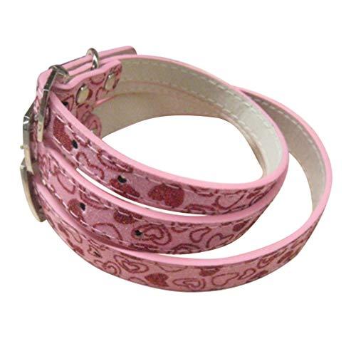 Balacoo Alla hjärtans dag hundhalsband hund händer gratis linne glitter hjärta krage för valpar hund (rosa)