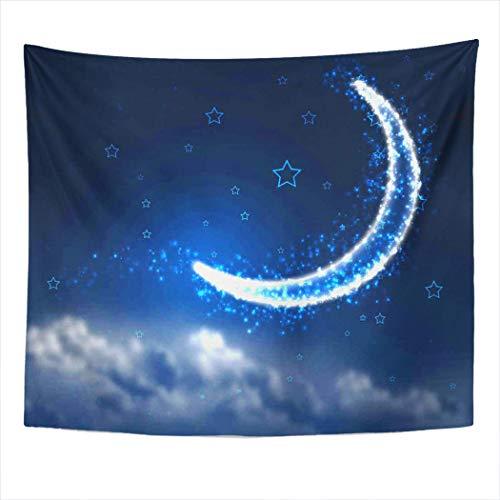 Tapiz Colgante de pared Luna creciente y estrellas Cielo nocturno Amarillo Acuarela Mancha abstracta Decoración del hogar Poliéster Sala de estar Dormitorio Dormitorio Alfombra de picnic Toalla de pla