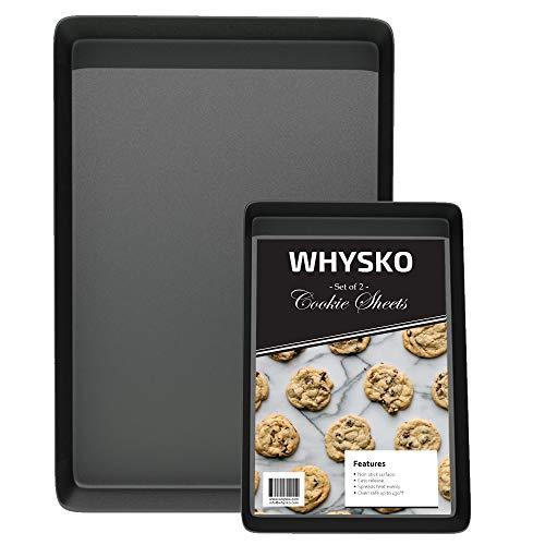 Non Stick Bakeware Set, Includes 2 Cookie Sheets, 1 Half Sheet Pan & 1 Quarter Sheet Pan, Warp and Rust Resistant