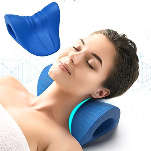 Neck and Shoulder Relaxer, Cervical Traction Device for TMJ Pain Relief and Cervical Spine Alignment, Chiropractic Pillow Neck Stretcher