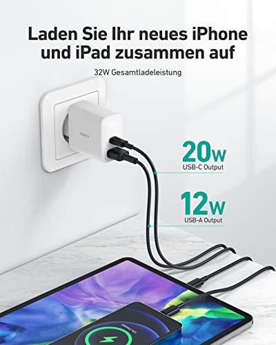 AUKEY USB C Ladegerät 32W Mit 2 Port für iPhone 12/12 Mini / 12 Pro Max, USB C PD Schnellladegerät kompatibel mit iPhone 11 Pro Max SE, iPad Pro, AirPods Pro, Pixel, Switch