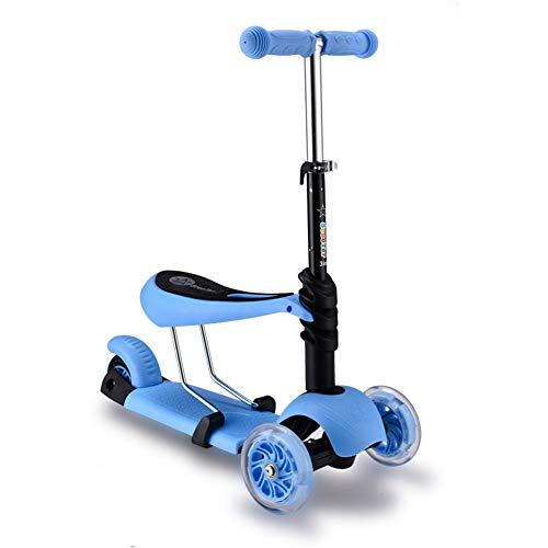 Thole Patinete Plegable NiñO Tipo Scooter AleacióN De Aluminio Rueda De Luz De PU con Manillar Ajustable Freno,Blue