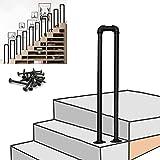Pasamanos para escalones al aire libre Pasamanos antideslizante para escaleras de hierro forjado vintage Pasamanos de tubo galvanizado negro mate Pasamanos de escaleras para jardín Loft Corridor