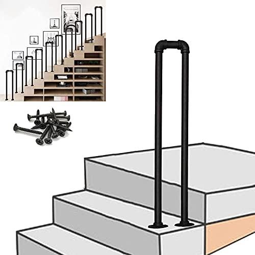 Pasamanos para escalones al aire libre Pasamanos antideslizante para escaleras de hierro forjado vintage Pasamanos de tubo galvanizado negro mate Pasamanos de escaleras para jardín Loft Corrid