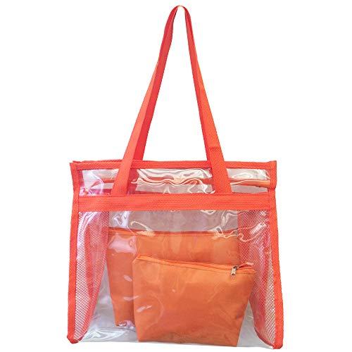 Bolsa feminina praia sacola transparente 2 necessaires brinde laranja