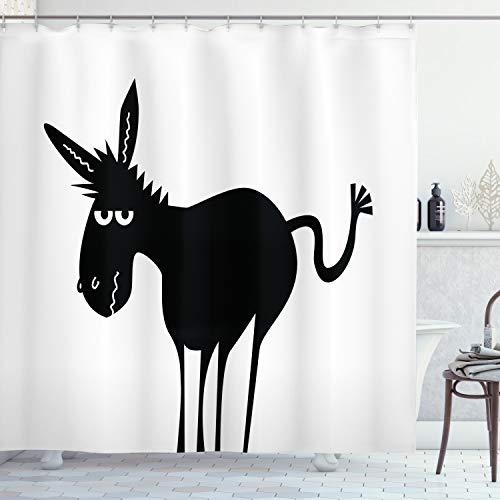 ABAKUHAUS Esel Duschvorhang, Schwarzes Spaß-Maskottchen-Schattenbild, mit 12 Ringe Set Wasserdicht Stielvoll Modern Farbfest & Schimmel Resistent, 175x220 cm, Weiß & Schwarz