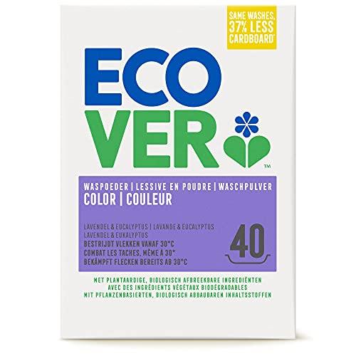 Ecover Color Waschpulver Konzentrat Lavendel (3 kg / 40 Waschladungen), Colorwaschmittel mit pflanzenbasierten Inhaltsstoffen, Waschmittel Pulver für natürlich reine Buntwäsche, 3 kg