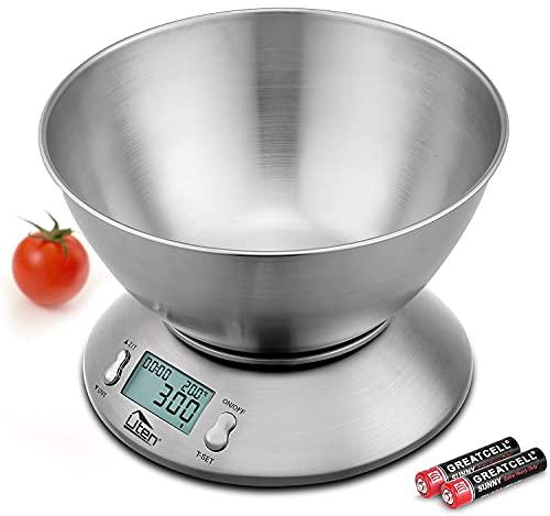 Uten - Bilancia digitale da cucina con ciotola in acciaio inox staccabile, 5 kg, con sensore di temperatura ambiente e bilancia da cucina di precisione