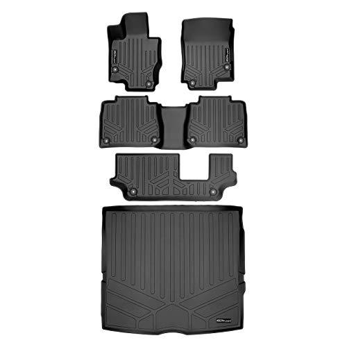 SMARTLINER Custom Fit Floor Mats 3 Rows and Cargo Liner Behind 2nd Row Set Black 2020-2021 Mercedes-Benz GLE-Class 7/8 Passenger