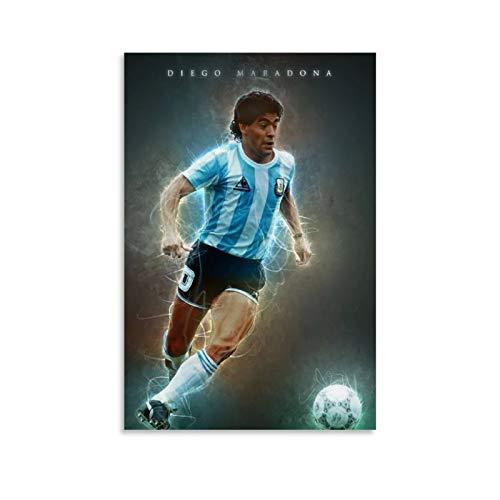 Póster de superestrella de fútbol Diego Armando Maradona 30 x 45 cm, diseño moderno de estrella de fútbol argentina, sin marco