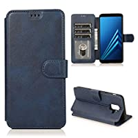電話ケース カーフテクスチャホルダー&カードスロット&財布&フォトフレームと磁気バックル水平フリップレザーケース (色 : Blue)