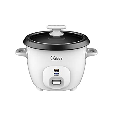 Midea 3-Cup Rice Cooker with Steamer, White