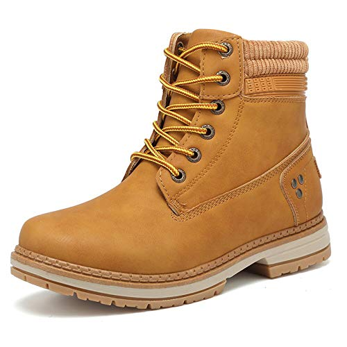 Geddard Waterproof Womens Hiking Boots Lace up Work Combat boots For Women Low Heel Ankle Booties Camel Size 8