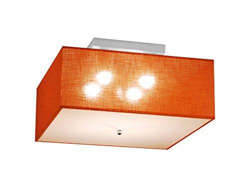 Deckenlampe Deckenleuchte HausLeuchten LS5050-ORANGE aus Massivholz - 50 x 50 x 29 cm, 11 Varianten, Leuchte, Lampe, 4-flammig (ORANGE)