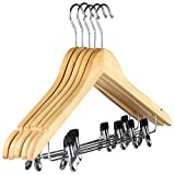 The Hanger Store 10 Wooden Suit Coat Clothes Hangers with bar and clips for Trousers, Skirts, Shirts